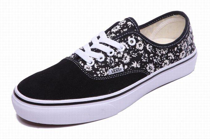 a00478aa981150 Vans Authentic Floral Little Flowers Black Mens Shoes  Vans ...