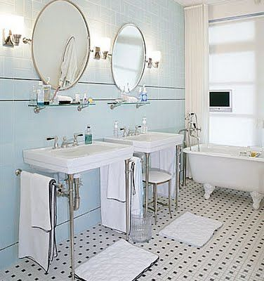 Old Fashioned Bathroom With Black White Tiles Clawfoot Tub Circular Mirrors Blue Walls