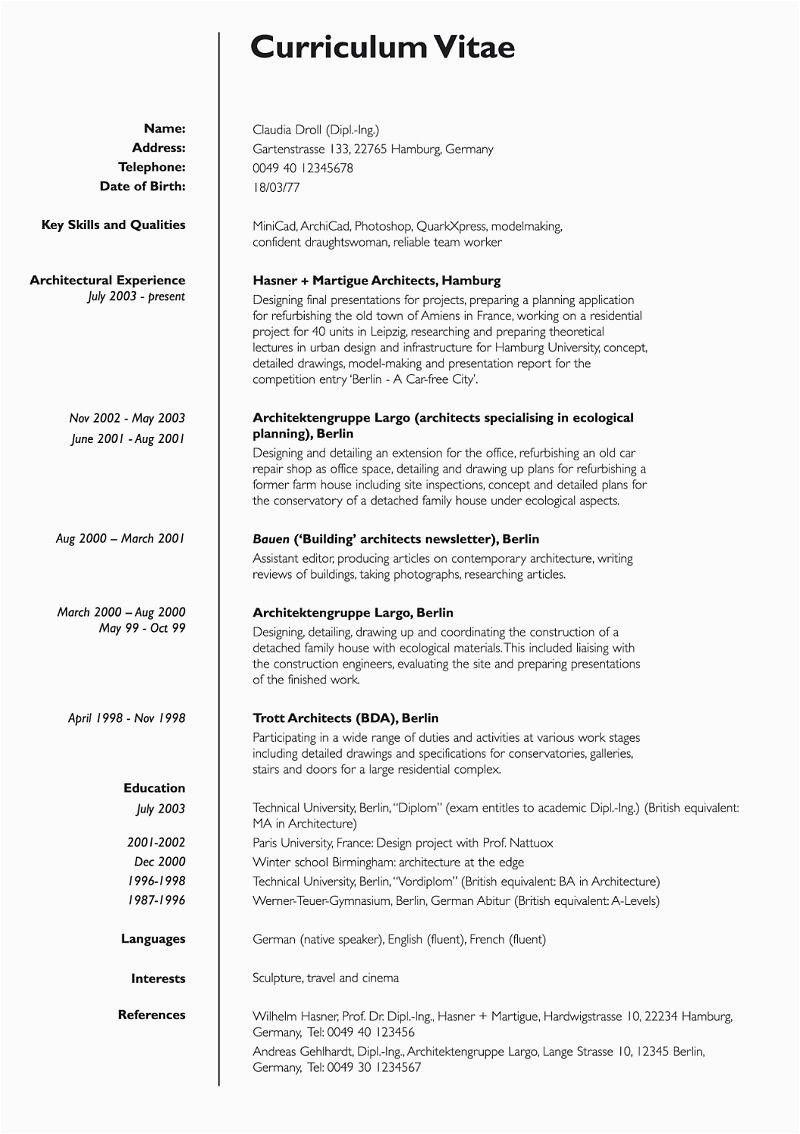 Lebenslauf Auf Englisch Curriculum Vitae With Example 14