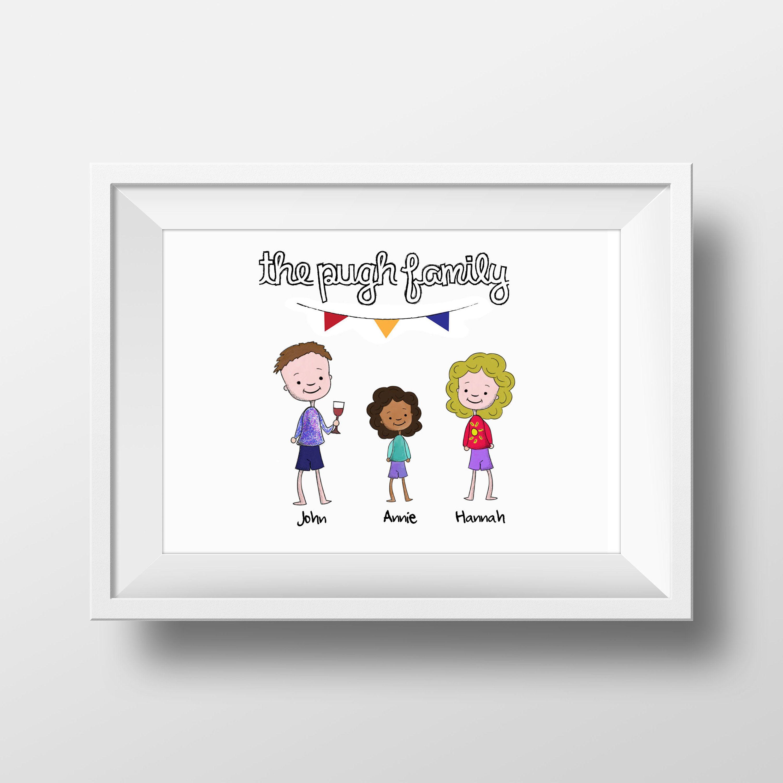 Personalised Family Print Stick Man Print Family Wall Art Etsy Personalised Family Print Family Print Family Wall Art
