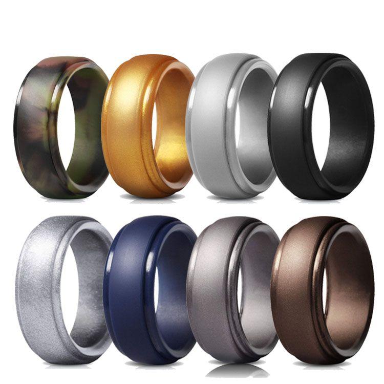 Geedyn Brand 8 Pack Edge Step Silicone Wedding Ring For Male In 2020 Silicone Wedding Rings Mens Wedding Rings Rubber Wedding Band