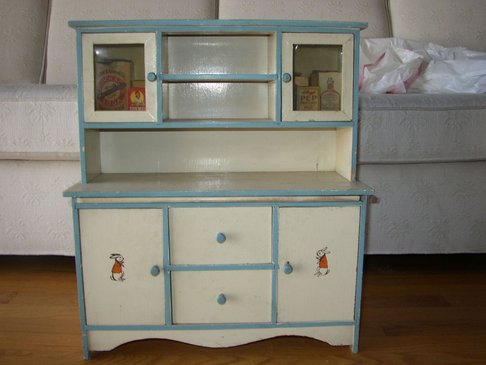 Antique 1920\'s child/doll hutch with celluloid windows & painted ...