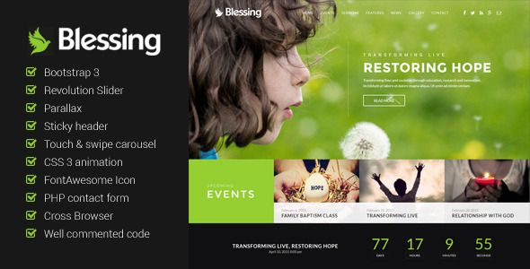 Blessing - Church Website Template | Template and Website themes