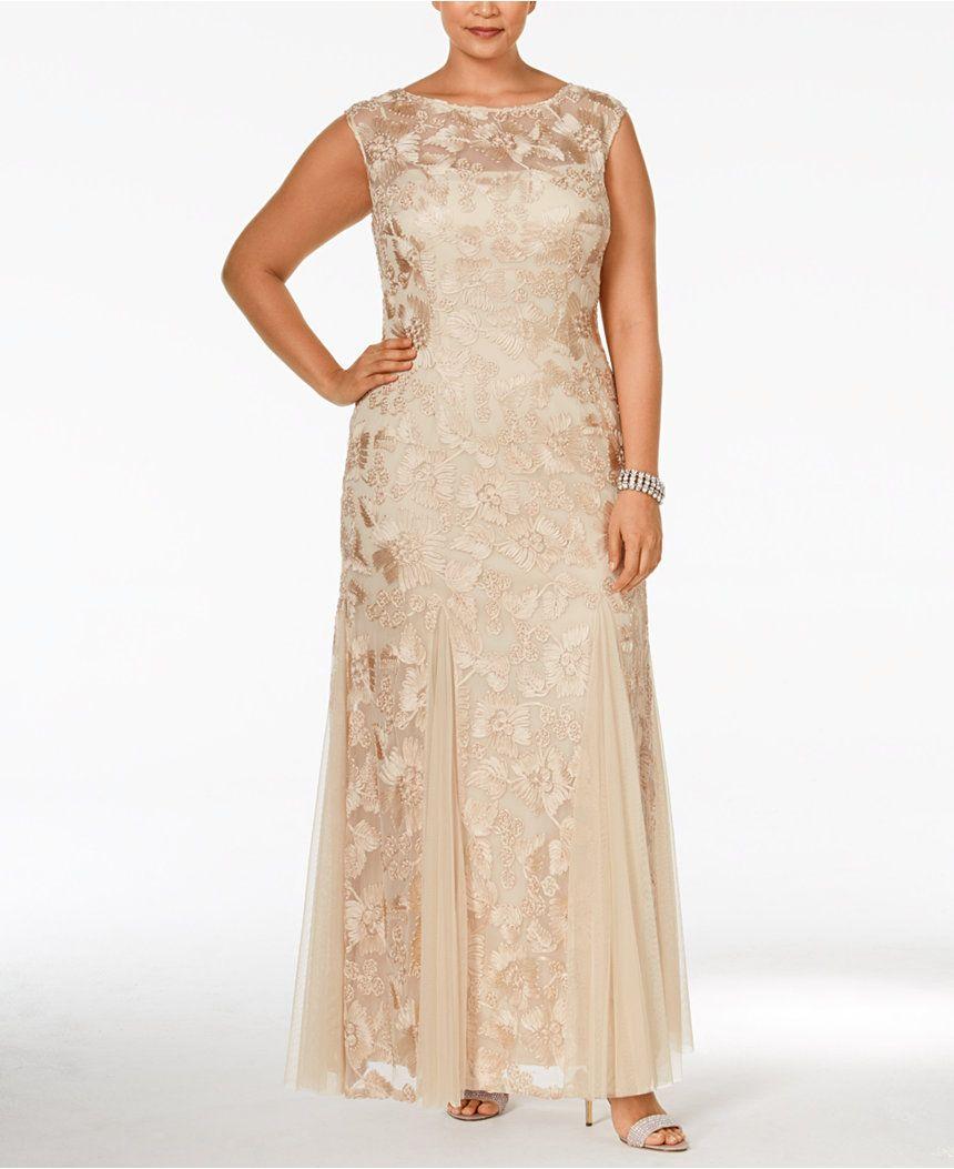 Macys womens dresses wedding  Alex Evenings Plus Size Floral Soutache Godet Gown  Dresses  Women