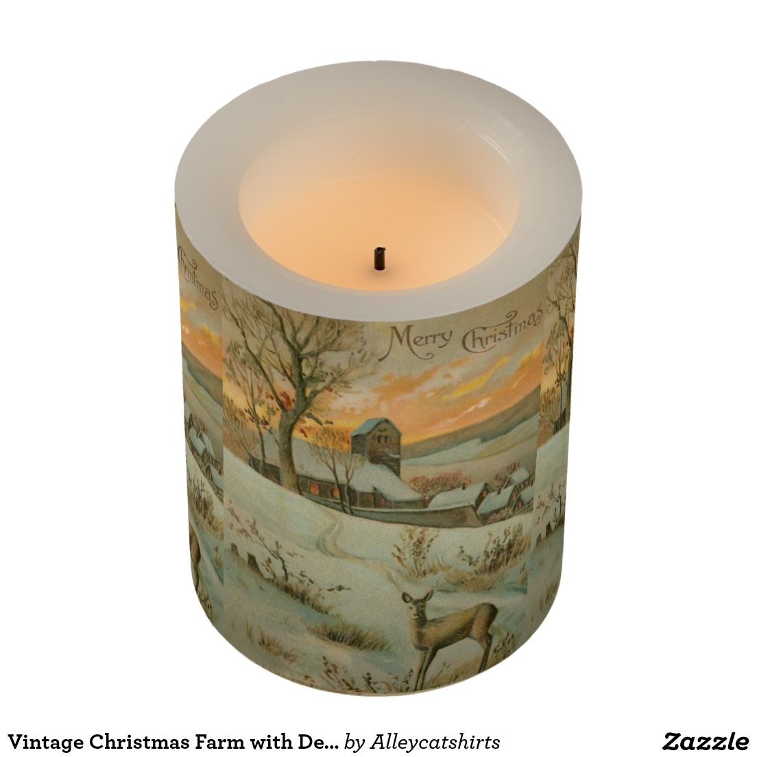 Vintage Christmas Farm with Deer Flameless Candle