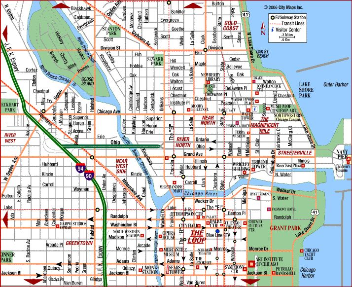 on downtown chicago map with hotels