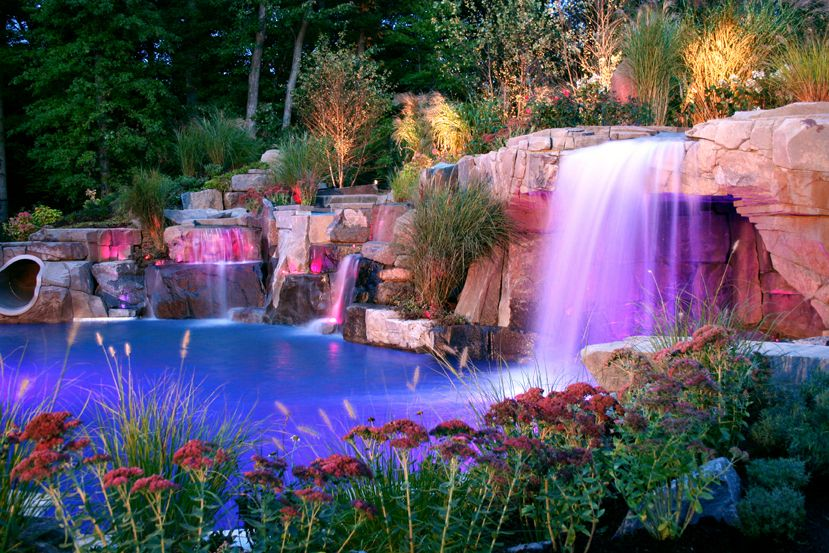 backyard led pool waterfalls lighting design ideas saddle river new jersey - Waterfall Landscape Design Ideas