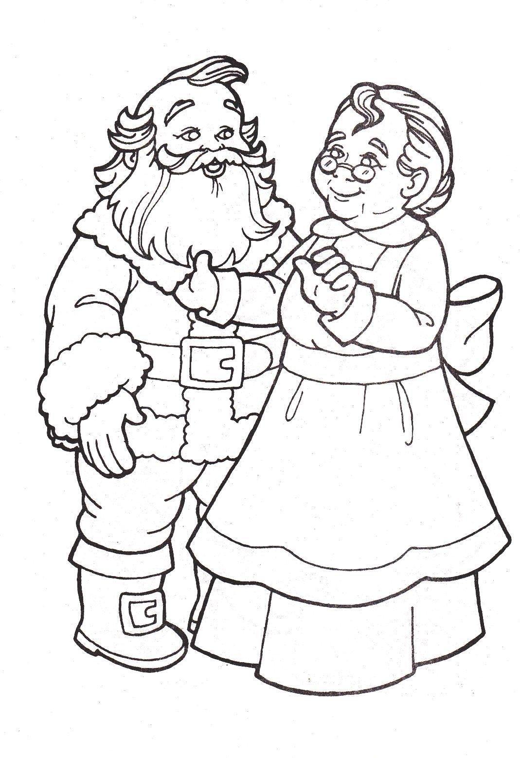 Mr And Mrs Santa Claus Coloring Pages Gambar