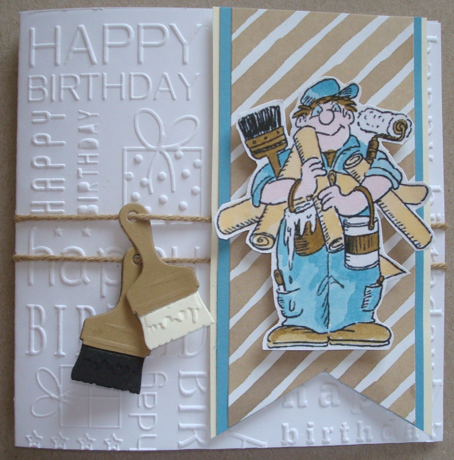 B131 Hand made Birthday card using painted digital image and Paint