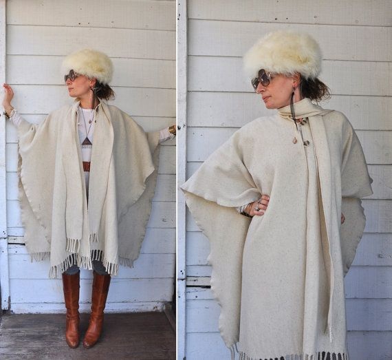 Vintage Oversized Poncho Cape Warm Wool Ethnic by LaDeaDeiSogni, $115.00