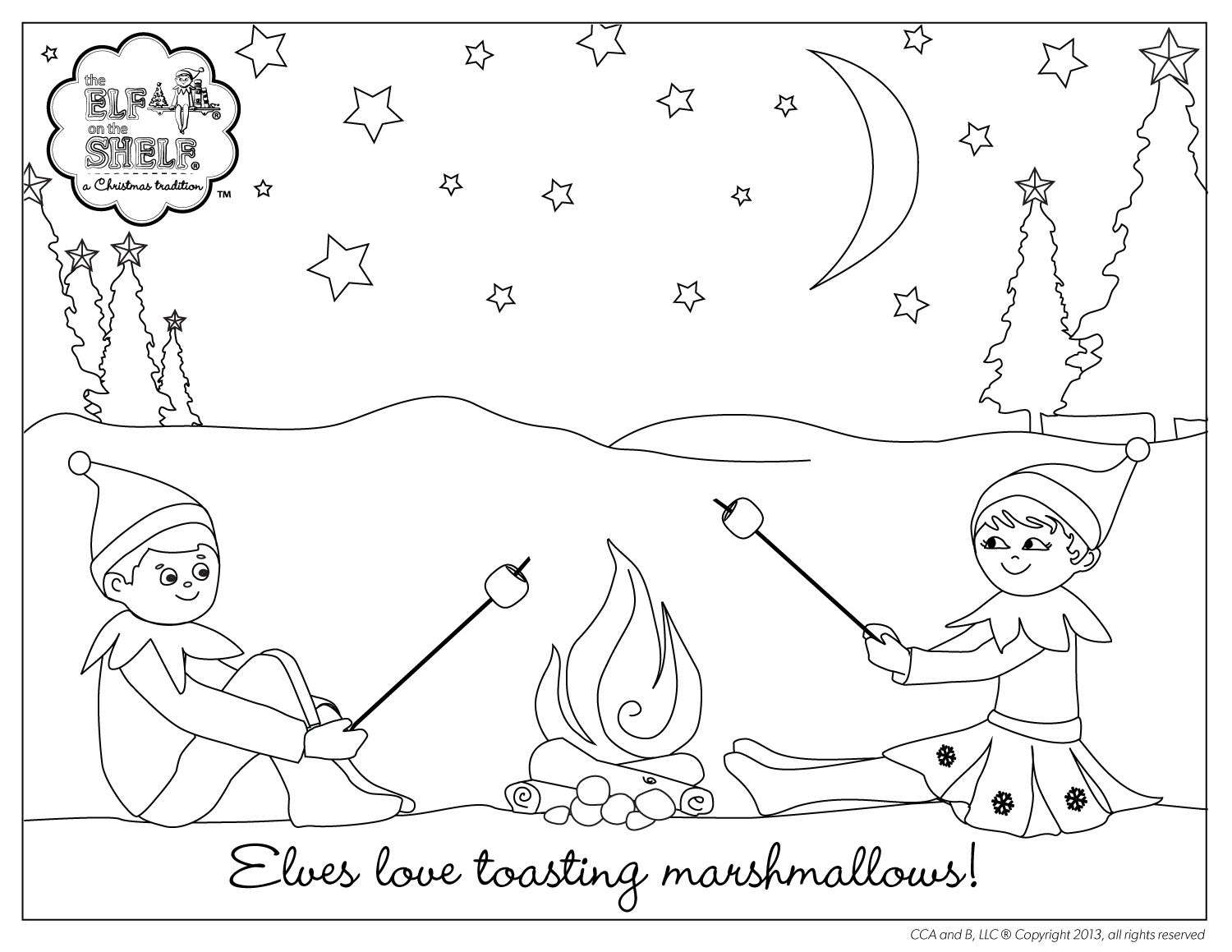 Elf On The Shelf Coloring Sheet