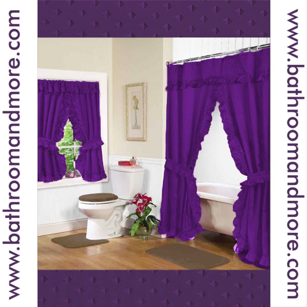 Double-Swag Purple Fabric Shower Curtain and Window Curtain Set ...