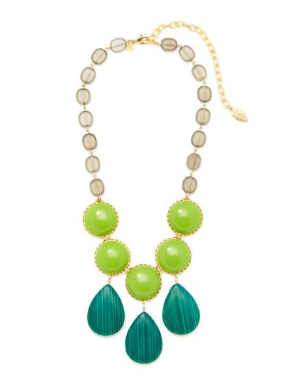 Gold & Green Multi Necklace by David Aubrey at Gilt