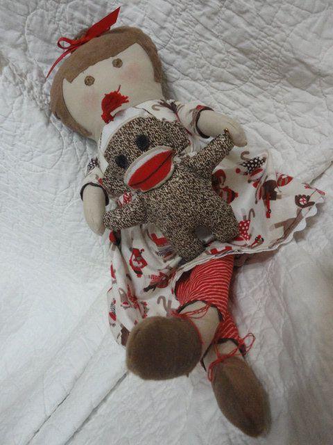 Sock Monkey and Minnie Doll by nonnichicksplayhouse on Etsy