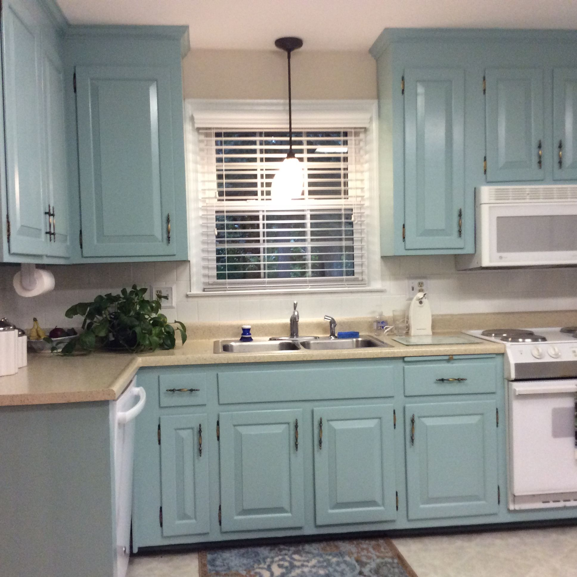 Aqua painted kitchen cabinets | Before and After | Pinterest | Aqua ...