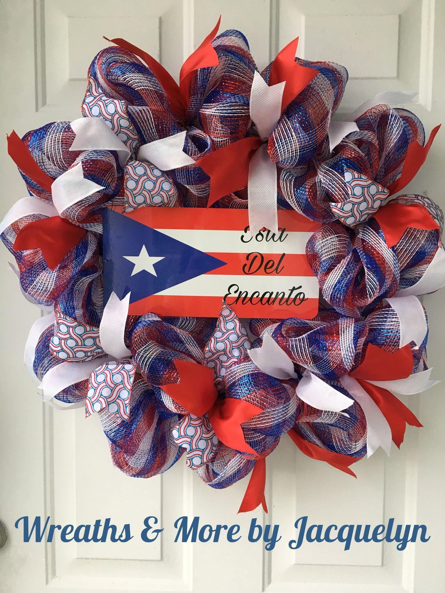 Puerto rico wreath puerto rico flag decorations ideas corona de puerto rico boricua isla del encanto puerto rico home decor decoraciones de puerto