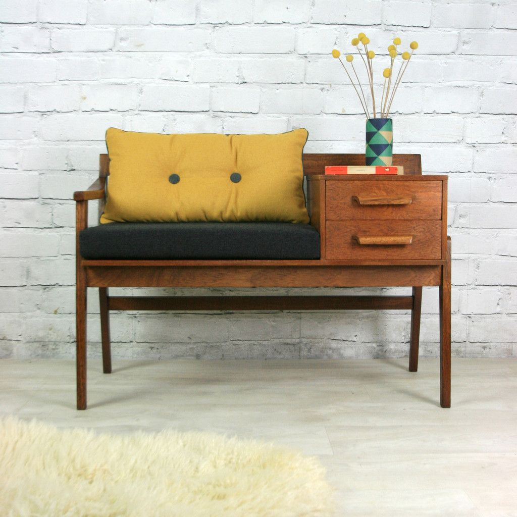 vintage teak 1960s telephone seat meuble vintage. Black Bedroom Furniture Sets. Home Design Ideas