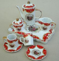 Adeline Dollhouse Miniature Porcelain Tea Set 10 Piece Childrens Tea Sets Miniature Tea Set Mini Tea Set