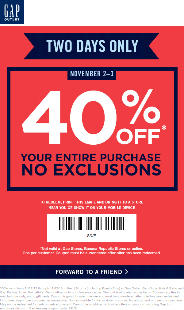 Pinned November 2nd: Extra 40% off this weekend at #Gap Outlet ...