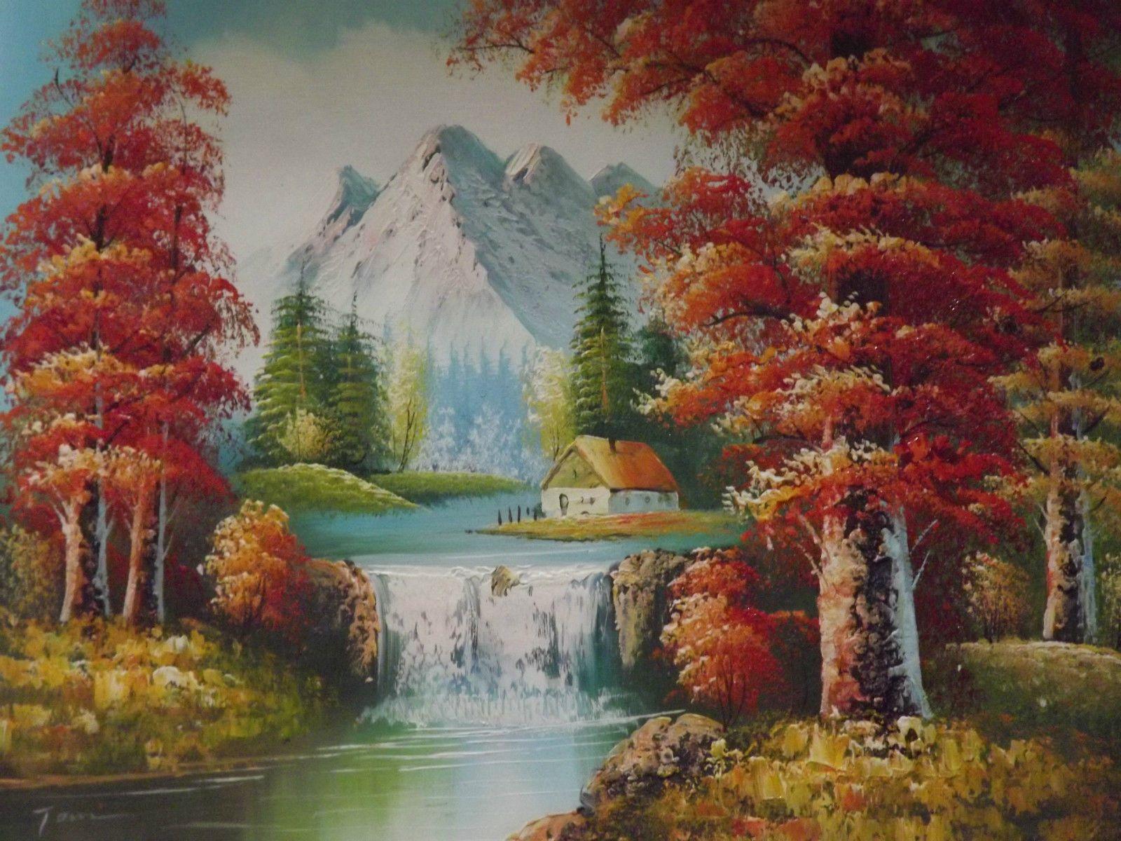 Neigeux Montagnes Arbres Forêt Large Huile Peinture Toile