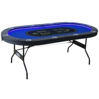 Barrington 10 Player Poker Table With Led Lights Blue In 2020 Poker Table Poker Poker Table Top