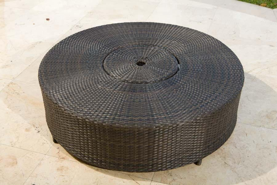 Patio Coffee Table With Umbrella Hole Wicker Coffee Table