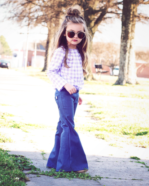 36d023034b Our signature Harlow Jade denim stretch bell bottoms. OUr denim bells are a  must have for your little ones wardrobe. They have an elastic pull on  waistband ...