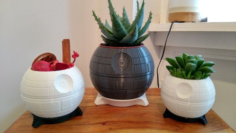 Star Wars Death Star Plant Pot - Multiple Colors and Sizes Available #starwarsmakeup Star Wars Death Star Plant Pot Multiple Colors and Sizes | Etsy #starwarsmakeup