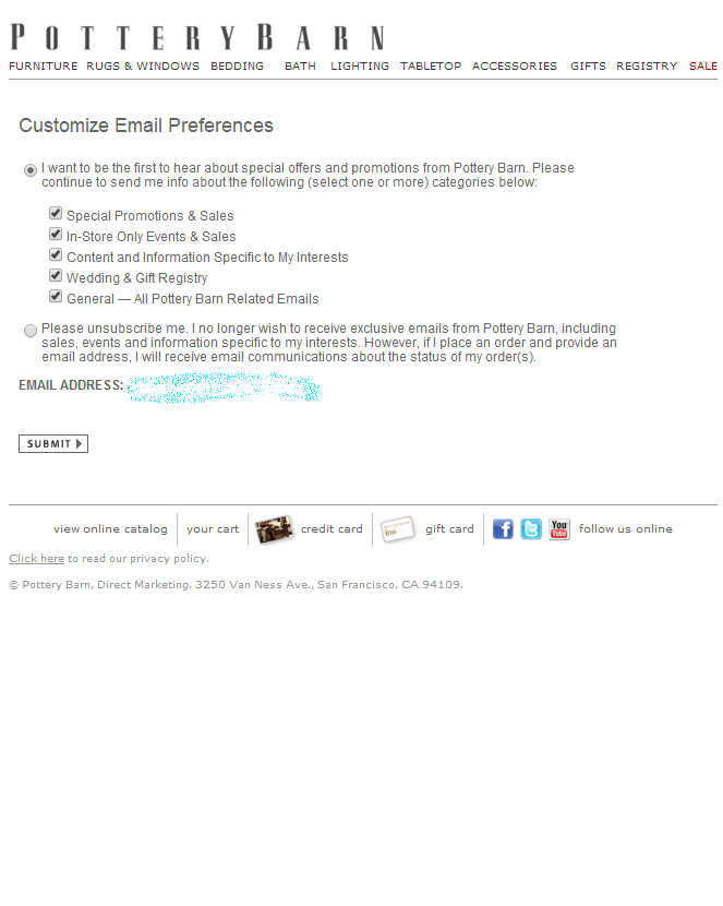 Pottery Barn email preference center | Email Preference