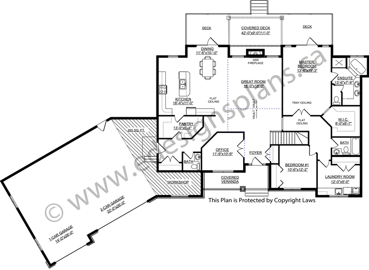 Bungalow Plan 2011580 with Angled Garage by E-Designs ... on house plans with angled attached garage, small house plans with angled garage, ranch home designs floor plans, ranch home with two car garage, ranch house plans with 3 car garage, ranch homes with walkout basement house plans,