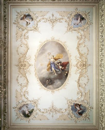 hagley hall worcestershire painted ceiling of the tapestry room detail james stuart and. Black Bedroom Furniture Sets. Home Design Ideas