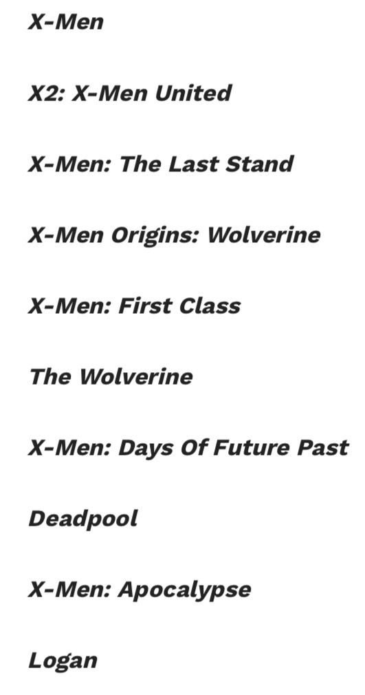 X Men Movie Order Marvel Movies In Order Xmen Movies In Order X Men