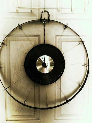 Large Wall Clock Made Of Wine Barrel Ring Copper Wire And