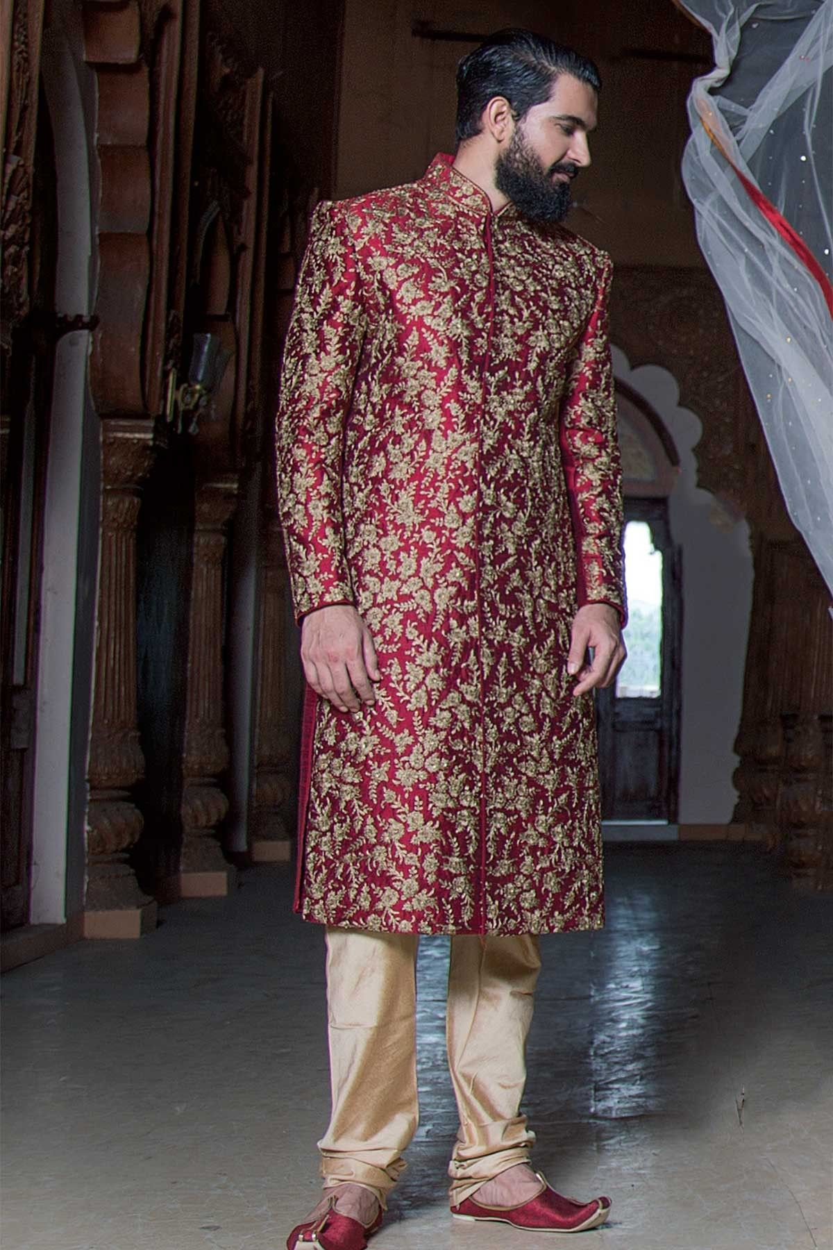 8c5922fdaf Buy Samyakk Maroon Silk Embroidered Indo western Sherwani online in India  at best price.