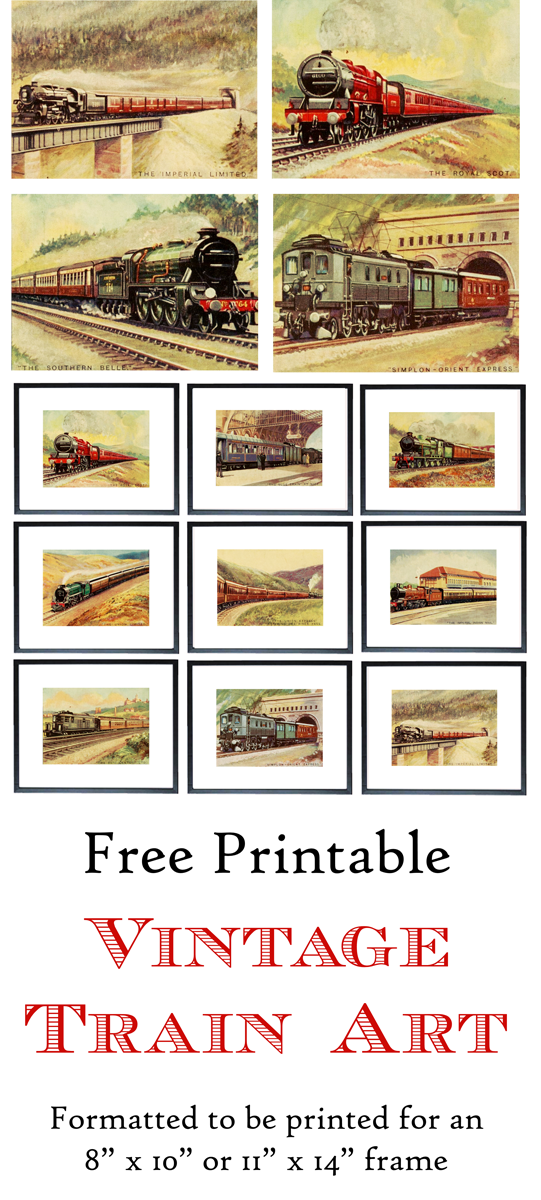 Free Printable Vintage Train Art. Formatted to be printed for an 8 ...