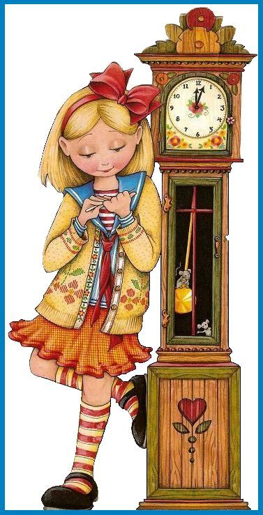 Girl and grandfather clock