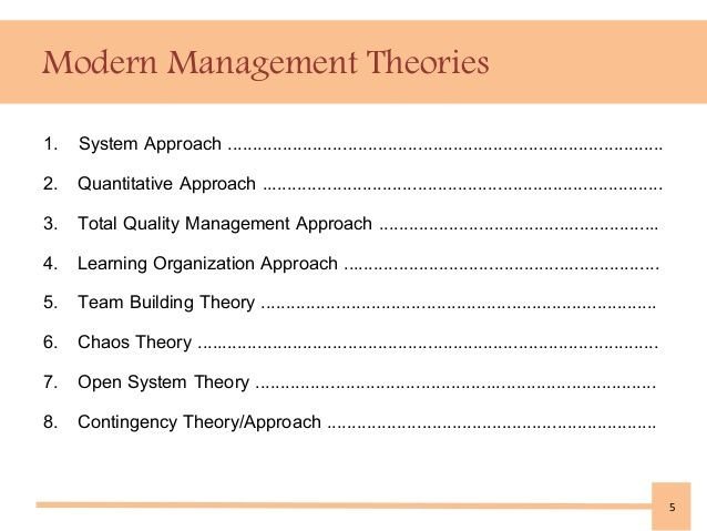 Modern Management Theories Systems Theory Management Learning Organization