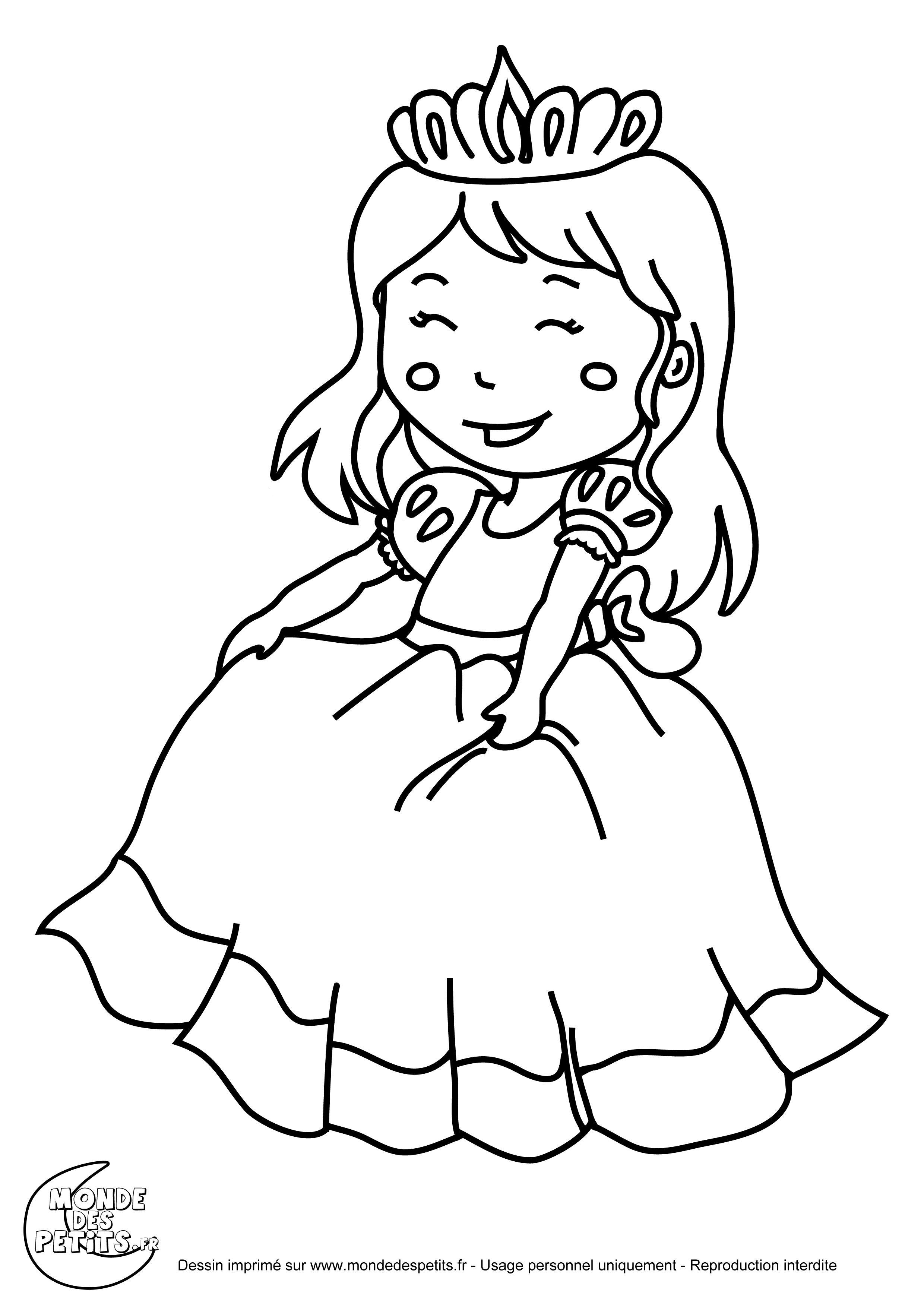 Dessin de princesse à colorier - image à imprimer #21