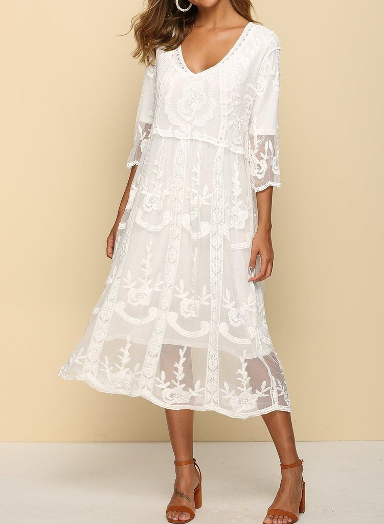 Sweet Casual 3 4 Sleeve Lace Dress In 2020 Lace Dress With Sleeves Floral Wrap Maxi Dress Womens Floral Dress