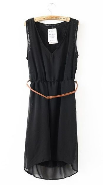 Women V Neck Asymmetric Chiffon Sleeveless Black A Line Dark Grain Flowers Dress S/M/L@II0117b