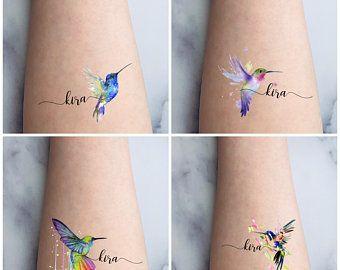 Temporary Tattoo Hummingbird and Flowers Waterproo