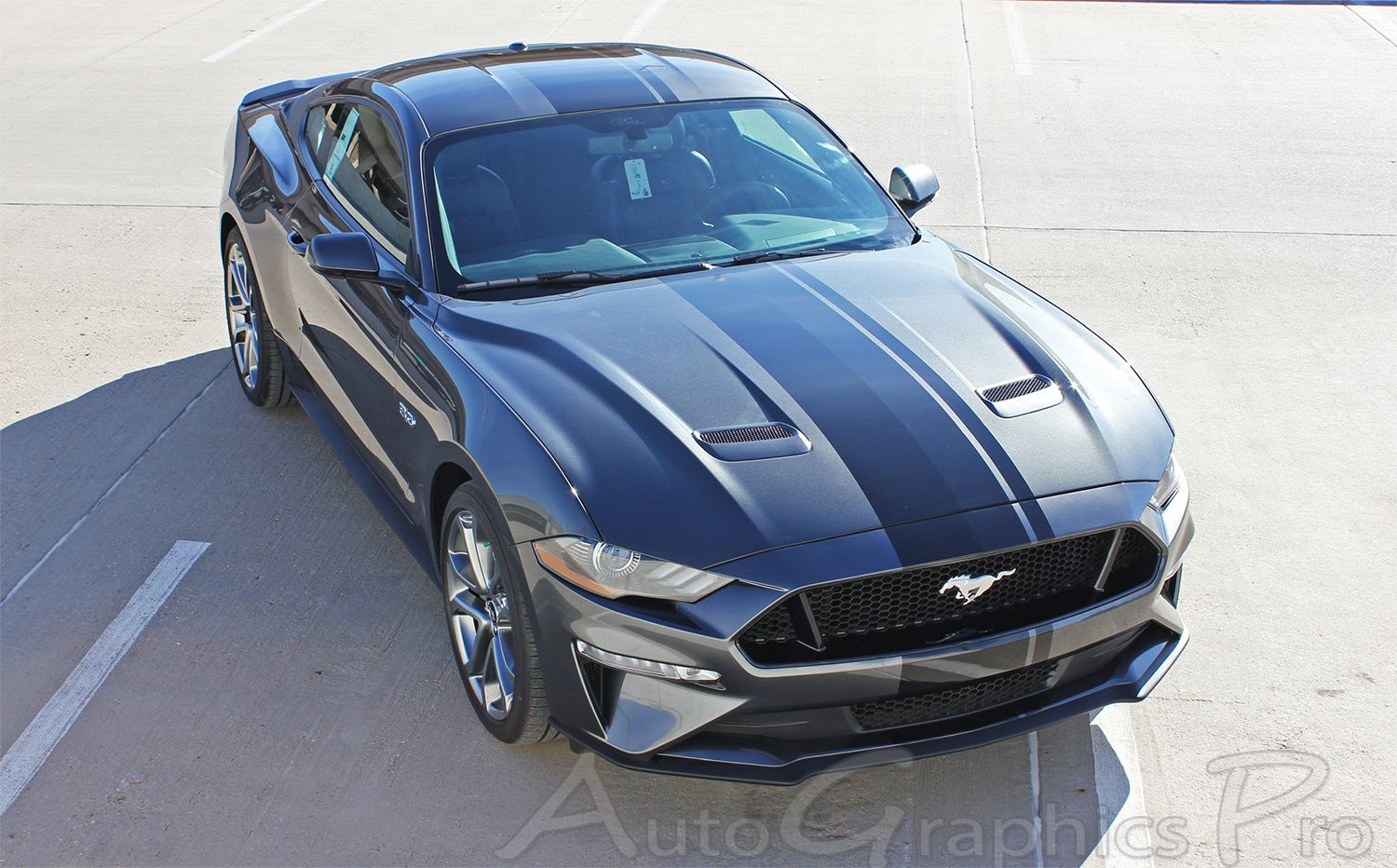 2018 2019 EURO XL Ford Mustang Racing Stripes Center Wide Decals Vinyl Graphics