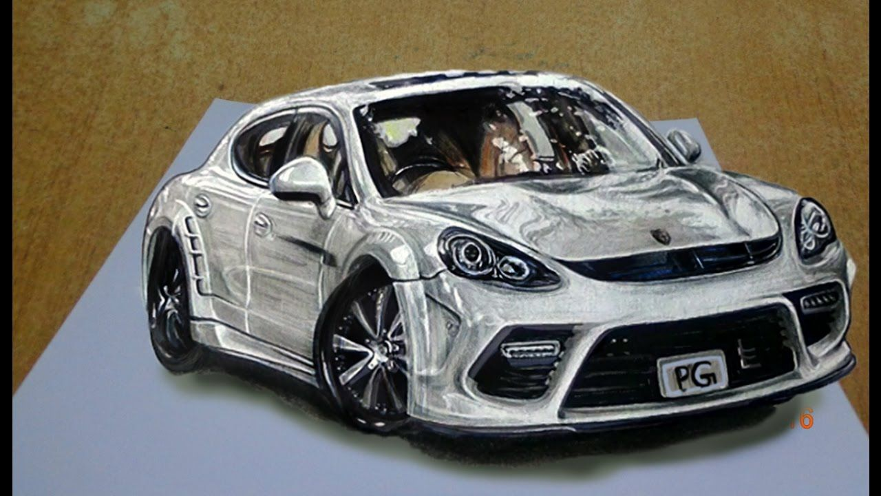 Draw A Realistic 3d Sports Car Step By Step Easy 3d Trick Drawing