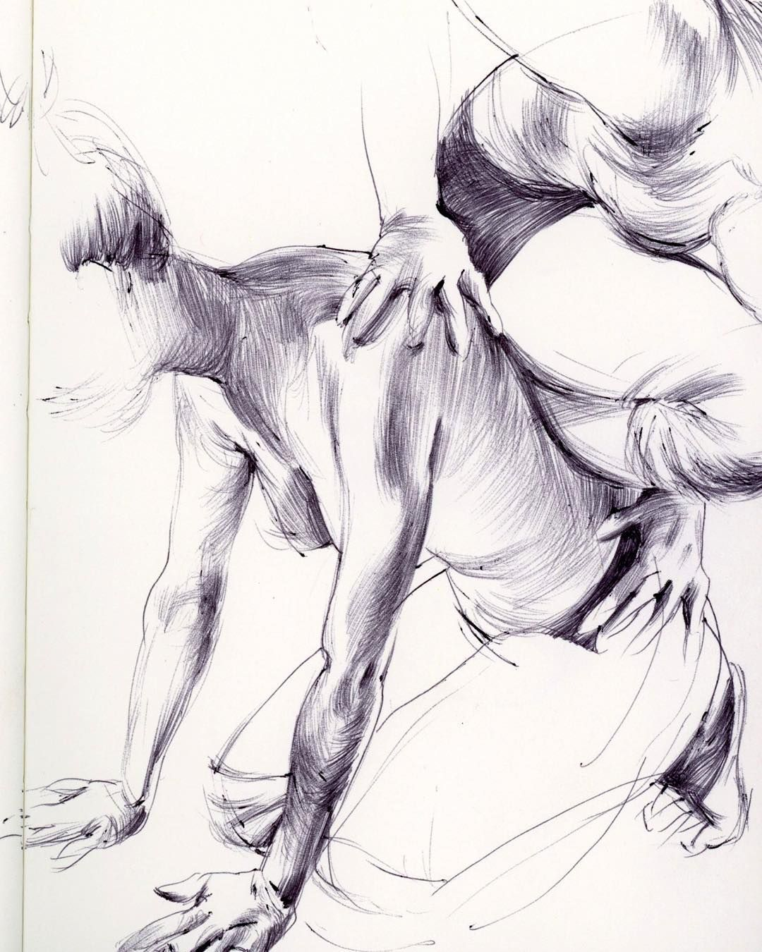 Here's another #sketch that will (most likely) make its way to canvas. Prepping a body of work that will hone in its focus on the majestic expressiveness of the human form.  0.5mm #ballpoint #figurestudies #dancers by taylurk