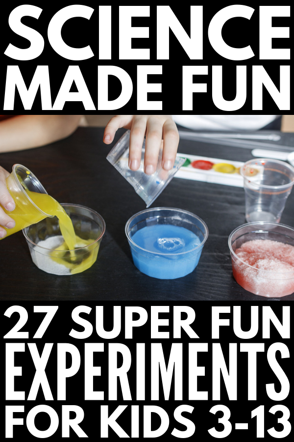 27 Science Experiments for Kids | Whether you're looking for sensory science experiments for kids to do at home, or science project ideas for kids in elementary school to teach kids about the scientific method and chemical reactions, this collection of simple, easy, and fun STEM activities and ideas will inspire you! #sensoryscience #scienceexperimentskids #scienceexperimentsforkids #stemactivities #stemactivitieselementary