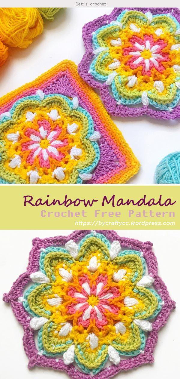 Vintage Rainbow Mandala Crochet Free Pattern #grannysquares