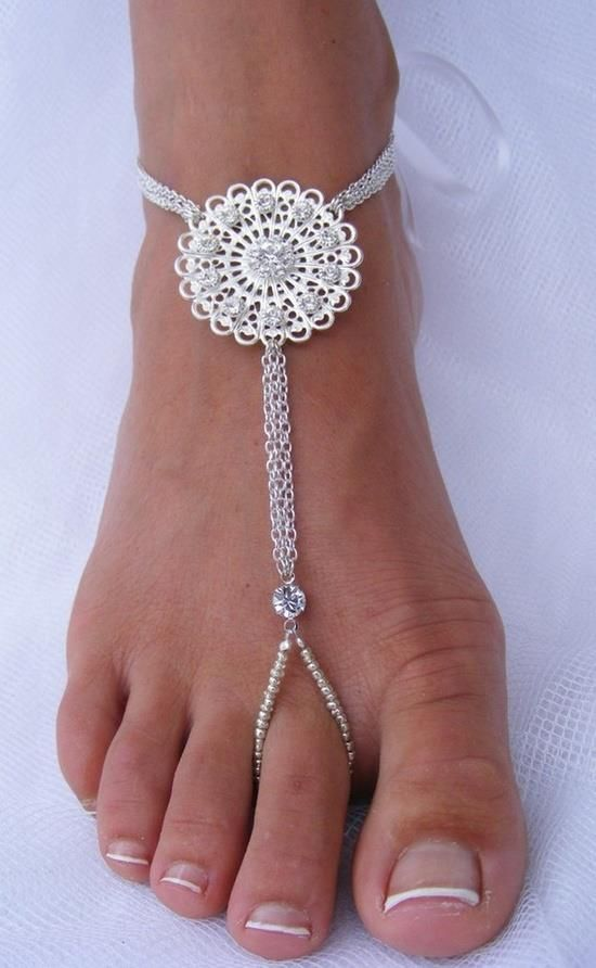 See more Barefoot wedding silver sandals for ladies