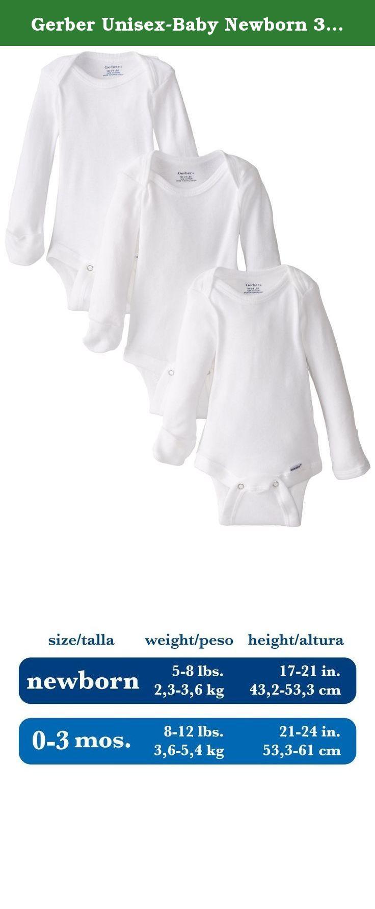 33008c93819c Gerber Unisex-Baby Newborn 3 Pack Longsleeve Mitten Cuff Onesies Brand