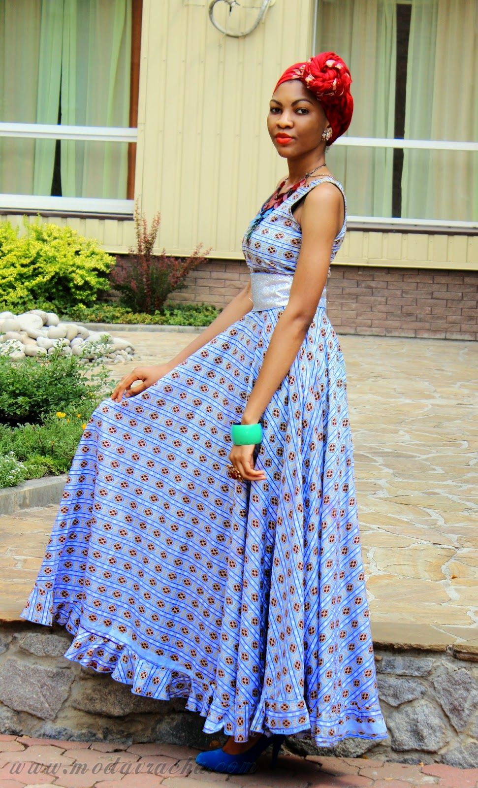 How can modern dressing - Long African Dress With Front Knotted Scarf