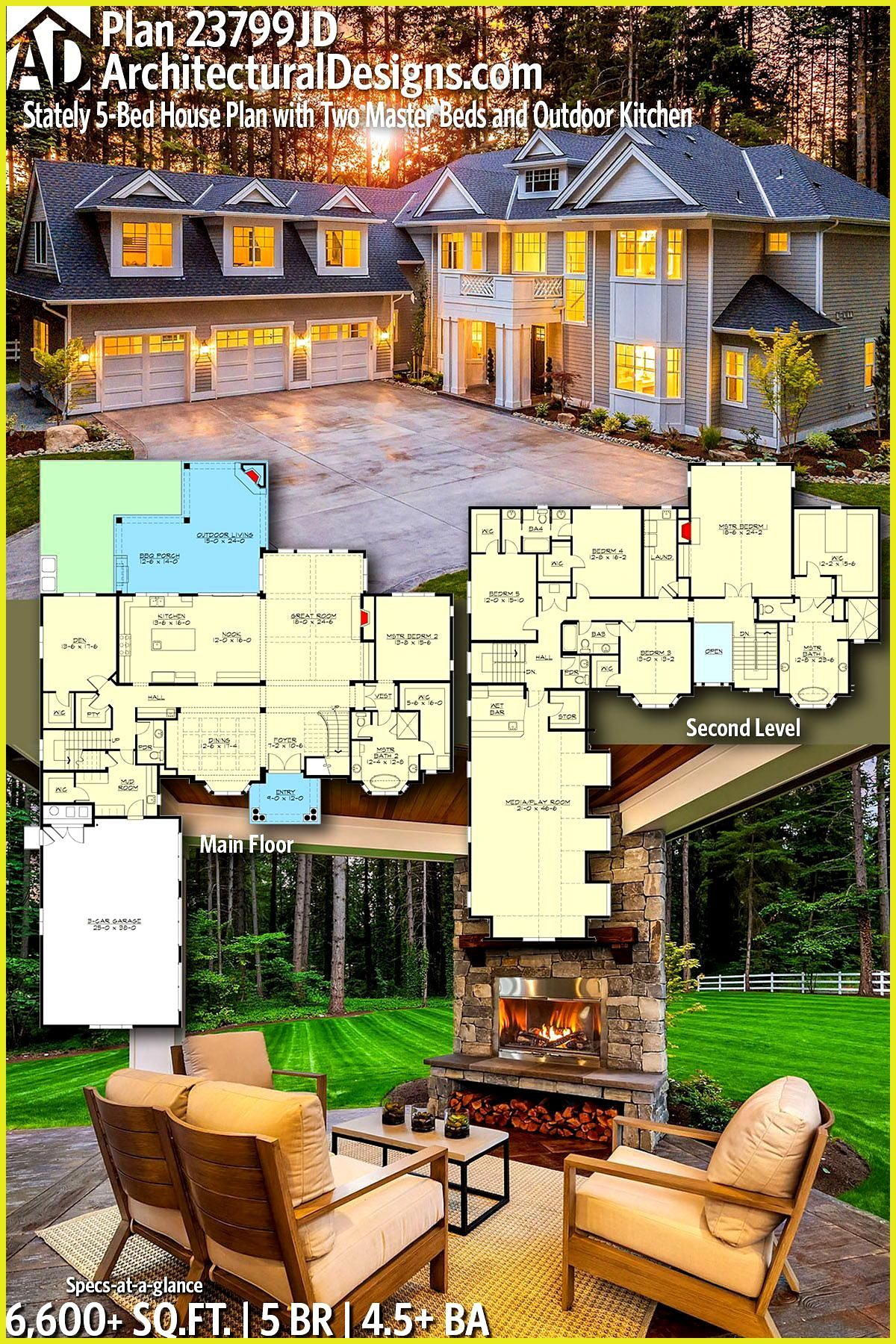Plan 23799jd Stately 5 Bed House Plan With Two Master Beds And Outdoor Kitchen Architectural Designs Home Plan House Plans Luxury House Plans Dream House Plans